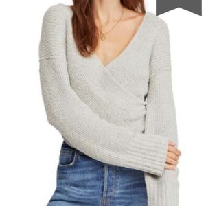 NWT FREE PEOPLE FAUX WRAP GREY SWEATER SIZE L